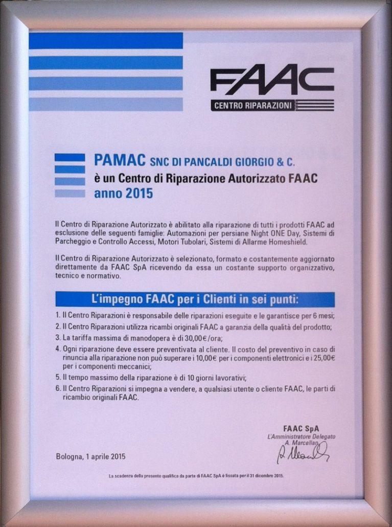 Certificato Centro Autorizzato FAAC